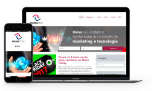 Imagem mostrando notebook e smartphone com otimização google e cases de marketing digital