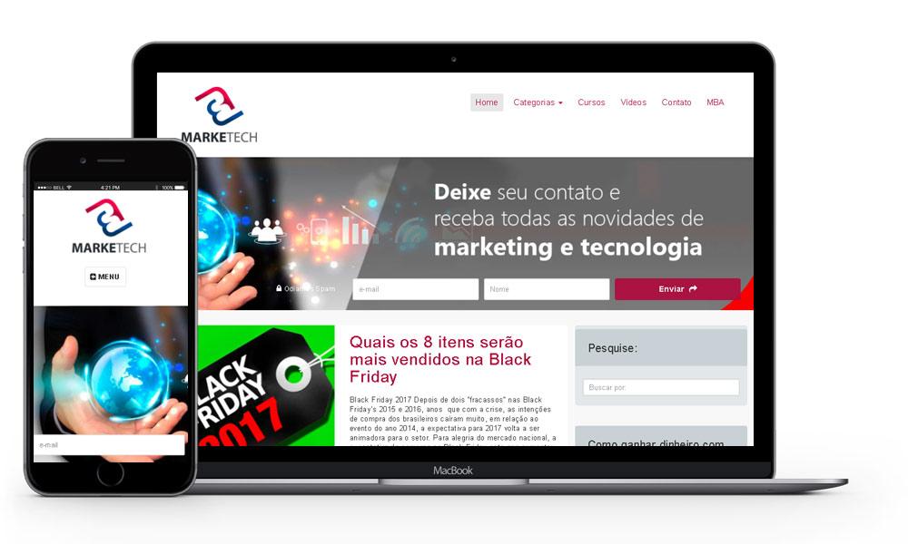 Imagem mostrando notebook e smartphone com otimização google e cases de marketing digital